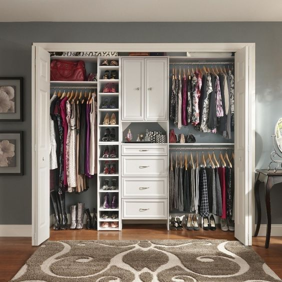 Hanging shoe rack floor space and closet on pinterest - Closet storage ideas small spaces model ...