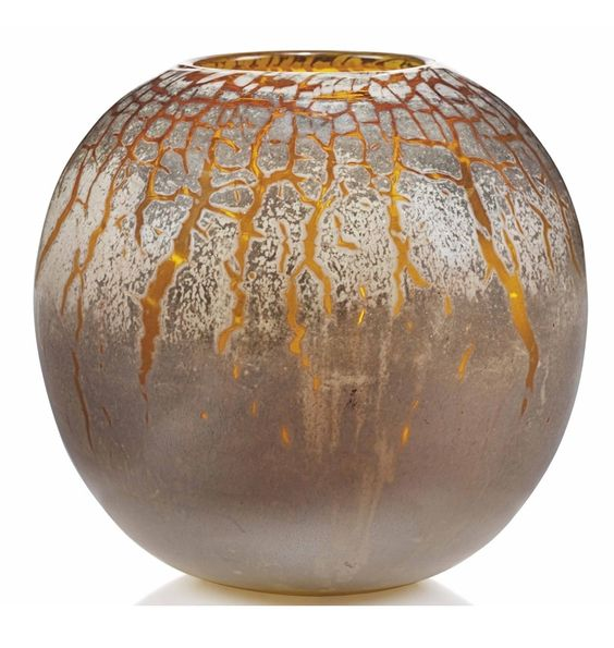A GALLE GLOBULAR GLASS VASE CIRCA 1925 The cased glass with dispersed iridescent surface, deeply marked in intaglio Gallé 9 7/8 in. (25 cm.) wide; 9 ½ in. (24.2 cm.) high
