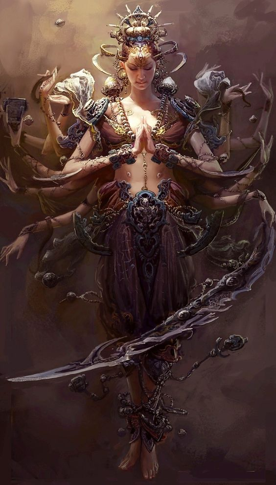 Jai Kali Ma!  Kali the goddess of time,change and destruction.She Who Conquers Over All, All-Auspicious, the remover of Darkness, the Excellent One Beyond Time, the bearer of the Skulls of Impure thought the reliever of difficulties, loving, forgiveness, supporter of the Universe.