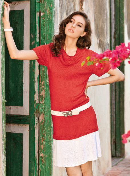 European Knitting Patterns : Verena Knitting Magazine   Top European Knitting Fashion lady sweater short s...