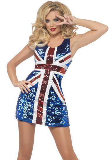 LADIES GINGER SPICE FANCY DRESS COSTUME UNION JACK SEQUIN DRESS ...