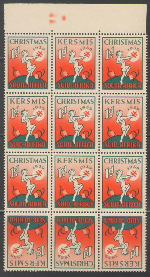 CHRISTMAS STAMPS 1939 BLOCK OF 12 UMM