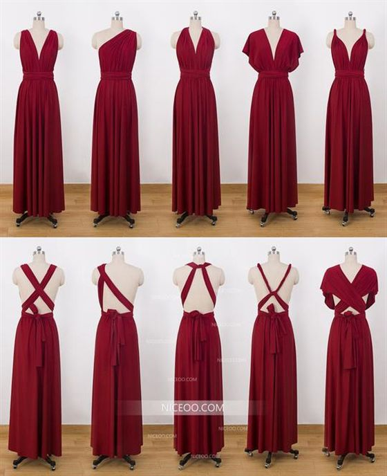 Burgundy Convertible Dresses Infinity Bridesmaid Dresses