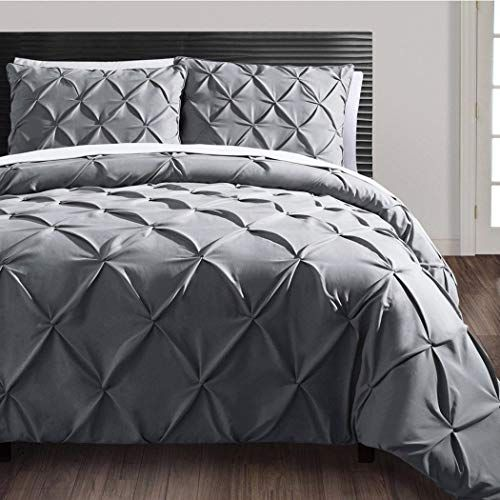3 Piece Charcoal Grey Pinch Pleated Duvet Cover King Set Plush