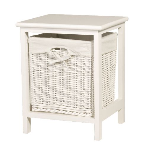 Antique white wicker storage table bedroom pinterest - Small storage table for bathroom ...