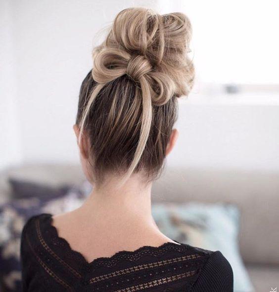 Messy bun and hair bow