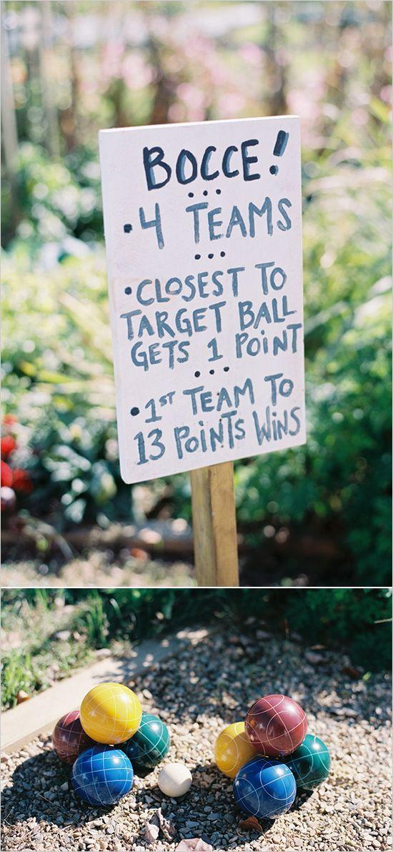 Bocce ball yard game ideas and signs. #weddingchicks http://www.weddingchicks.com/2014/06/23/fall-wine-country-wedding/