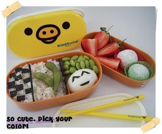 Rilakkuma & Kiiroitori Bento Boxes with Chopsticks & Strap