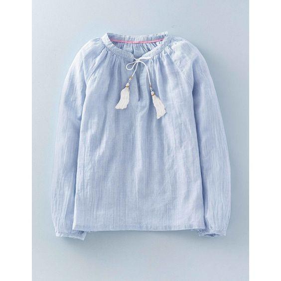 Boden Boho-Bluse aus Gaze Blau Damen Boden
