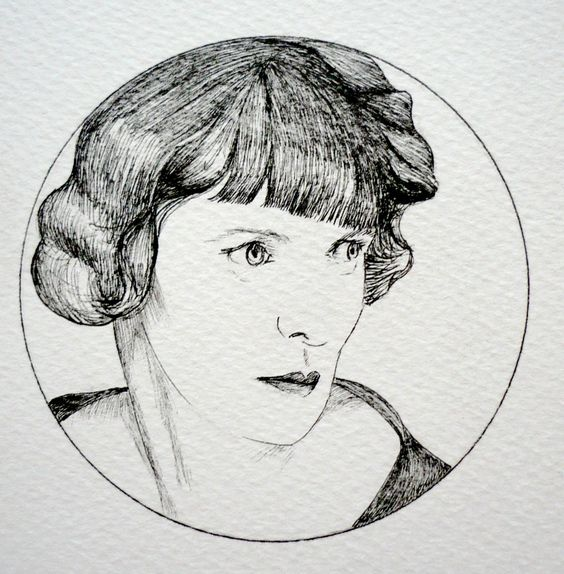 MUJERES EXCEPCIONALES retrato de Hilda Doolitle relizado por Paula Plaza Moreno. Hilda Doolittle (1886- 1961), más conocida por sus iniciales H.D., fue una poetisa, escritora y cronista estadounidense.: