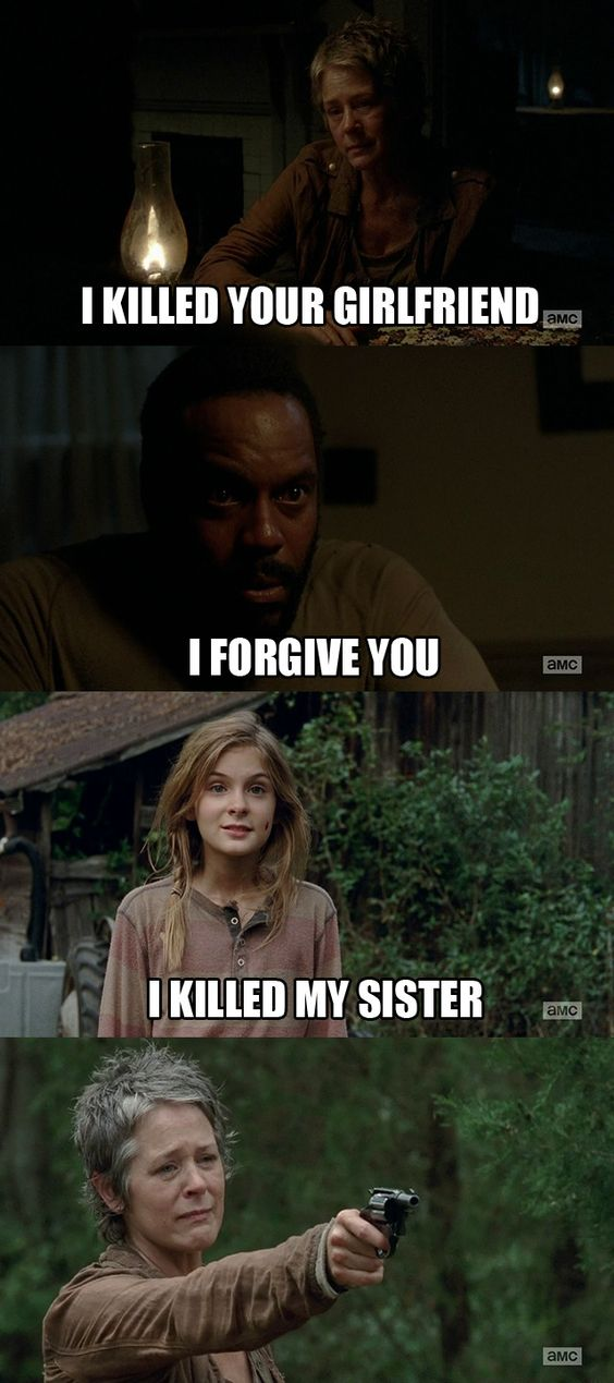 Carol is crazy... not for the Lizzie thing, that was necessary, but killing Karen and David? She thinks she is tough now but she is just becoming a person without regrets doing things that SHE is only one thinks are ok. And if you are on her side just think of what if Daryl would have been the one sick, sure as hell she would leave him alone or something. Double standars!