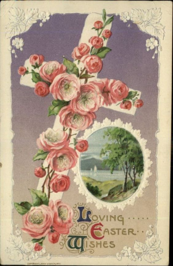 WINSCH EASTER Riverside Scene Pink Roses on Cross c1910 Postcard