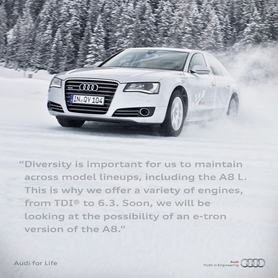#Audi #A8 With stricter fuel economy and emissions standards being implemented in the EU and the US, are there plans to continue producing an A8 L with the 6.3-litre W12 engine; versus, downsizing to a higher-output version of the biturbo 4.0 TFSI engine or another lower displacement, force inducted engine?