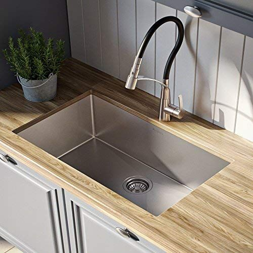 Kraus Khu100 28 Kitchen Sink 28 Inch Stainless Steel In 2020 Undermount Kitchen Sinks Single Bowl Kitchen Sink Stainless Steel Kitchen Sink