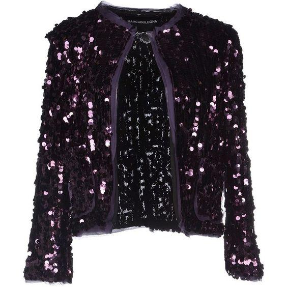 Marco Bologna Blazer (620 BRL) ❤ liked on Polyvore featuring outerwear, jackets, blazers, purple, purple sequin jacket, tulle jacket, black blazer, single breasted jacket and sequin blazer jacket