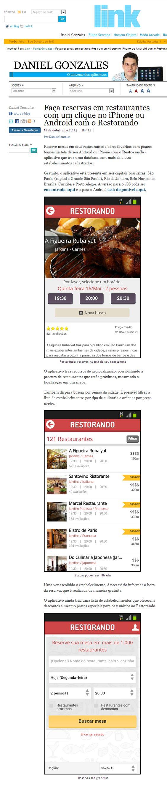 Restorando no portal do Link, caderno de tecnologia do jornal O Estado de S.Paulo - 11 de outubro de 2013.