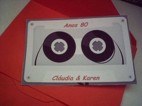 convite anos 80 Convite personalizado em várias cores para festa anos 80 Feito em papel coche ,segue acompanhado de envelope . R$ 3,00