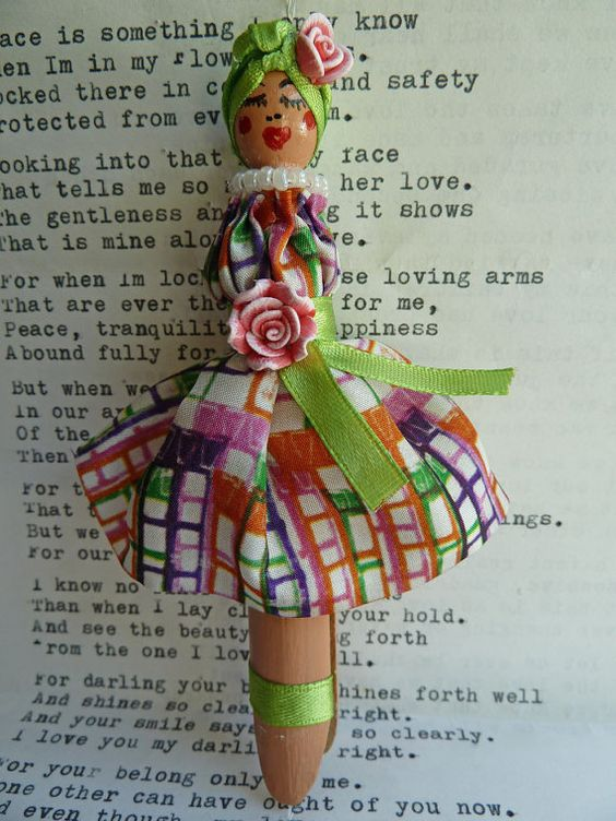 Peg doll brooch with designed silk dress and hat by morethandivine