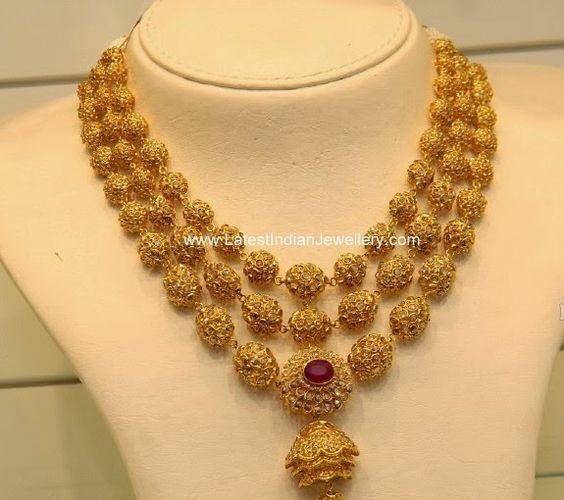 uncut diamond gold balls necklace polki and uncut