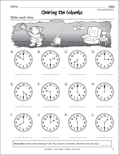 Telling time worksheets for first grade include telling time to – Maths Worksheets for 1st Class
