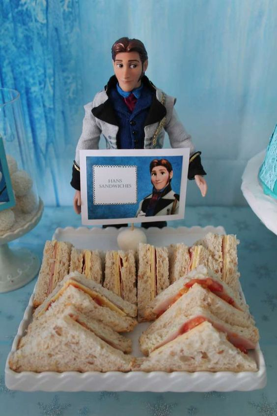 Hans' sandwiches at a Frozen birthday party! See more party planning ideas at CatchMyParty.com!