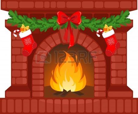 Ilustraci n vector chimenea en navidad decorada con - Chimeneas decoradas ...
