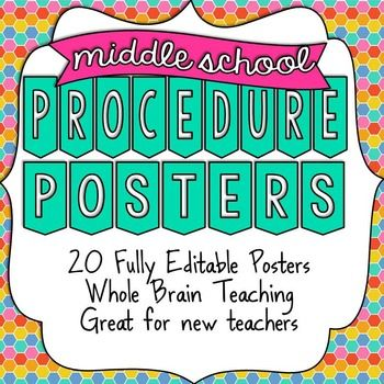 Middle School Procedure Posters - UPDATED
