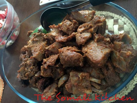 Hilib Ari Isku Duug (Braised Goat Meat) - Braised goat meat is a Somali favourite. I learnt how to cook goat meat in this fashion from my mother and grandmother. Thanks to them the result is always tender, melt off the bone meat.