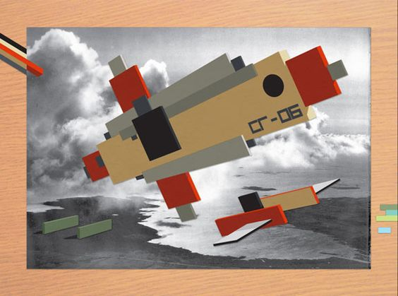 """Battle Drone 'Ilya Chashnik SG-06' is Deployed"" Cut-paper collage on found image on wood veneer. 9.5"" x 12.75"""