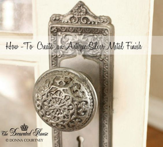 How to Create an Antique Silver Metal Finish. Tutorial showing how on this beautiful old door knob. at The Decorated House