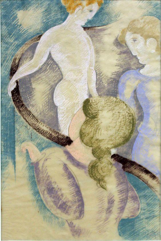Oskar Schlemmer |  Drei Figuren am Geländer anagoria, 1933