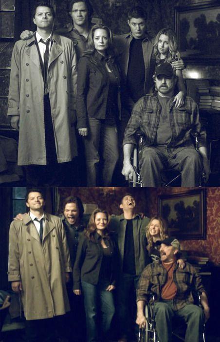 Supernatural - Misha Collins, Jared Padalecki, Samantha Ferris, Jensen Ackles, Jim Beaver and Alona Tal