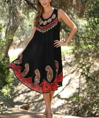 Another great find on #zulily! Black & Red Embroidered Sleeveless Dress - Women #zulilyfinds