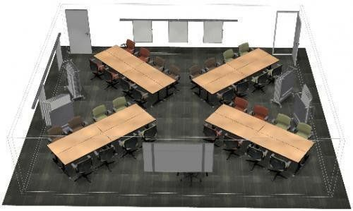 """Traditional classrooms are normally arranged in a linear format with all the desks facing one direction. Studies suggestthat creating a room with no """"obvious"""" front helps students to take a more active role in learning, rather than looking to the teacher."""