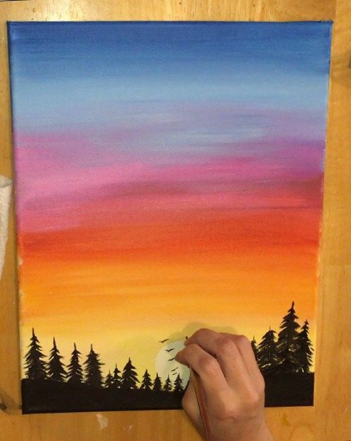 Sunset Painting Learn To Paint An Easy Sunset With Acrylics Sunset Painting Sunset Painting Acrylic Poster Color Painting