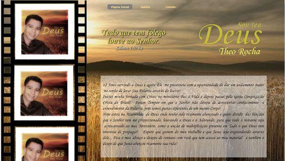 Página Inicial do site do Cantor Theo Rocha www.cantortheorocha.com.br