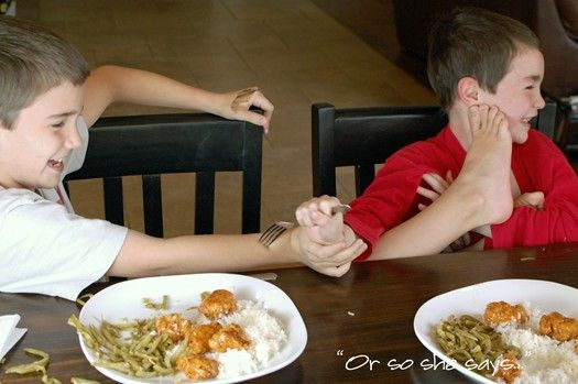 Table Manners Game- Give each kid a small stash of candy (skittles, m). If you lose your manners (burp, fight, complain about dinner) whoever catches you losing them gets a piece of your candy stash. At the end of the meal everyone eats their dessert/treats that they earned throughout dinner. Think I would probably modify this a bit. Good premise though.