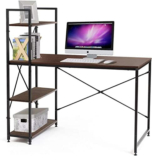 Buy Bestier Computer Desk Shelves Writing Desk Storage Shelves Study Table Office Desk Shelves Workstation Home Office Desk Bookshelf 47 Inches Study Room Bedr In 2020 Computer Desk With Shelves Metal Dining