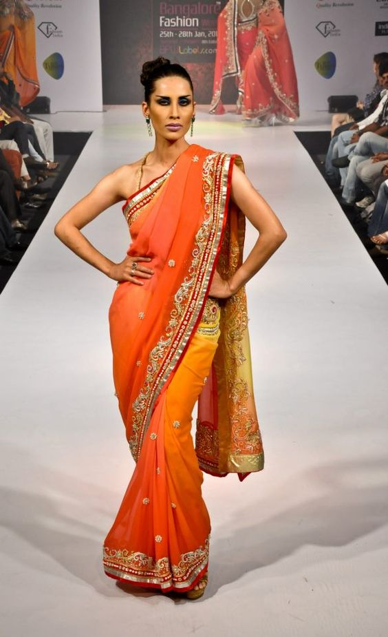 Blended Yellow and Orange Sari. Designer Khushboo Chhadwa at BPBFW Summer/Showers '13