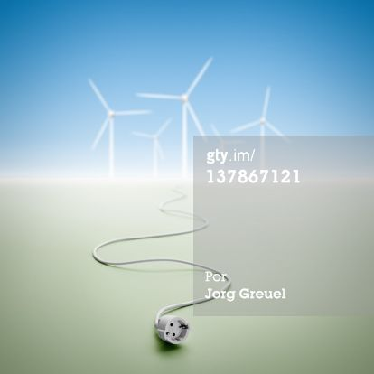 Imagem royalty-free: Electrical cord and wind turbines