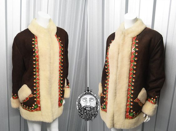 Vintage 60s Afghan Coat Sheepskin Coat Hippy Jacket Embroidered