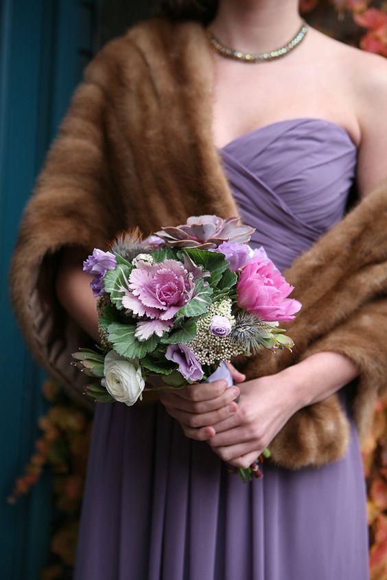 Purple kale themed wedding