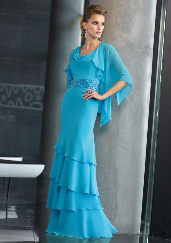 Scoop Neckline Column Beads Working Blue Chiffon Floor Length Mother Of Bride Dress