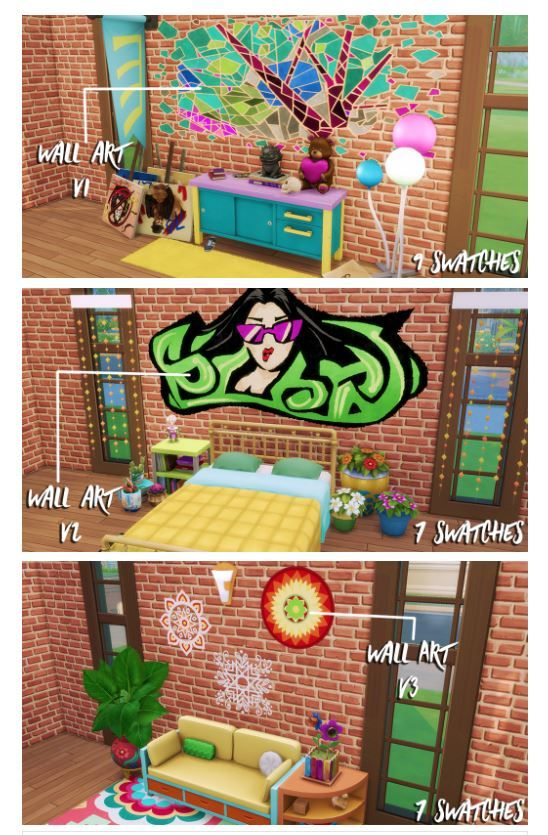 City Living Rugs 2 Wall Art Add On Requries Get Together Wall Decoration By Skellysims Via Tumblr Sims 4 Ts4 I Sims 4 City Living Living Rugs Sims 4
