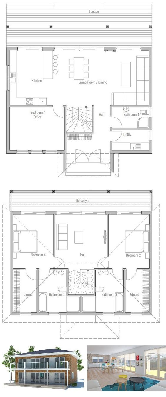 Small House Plan To Small Lot Three Bedrooms Open Planning Balcony