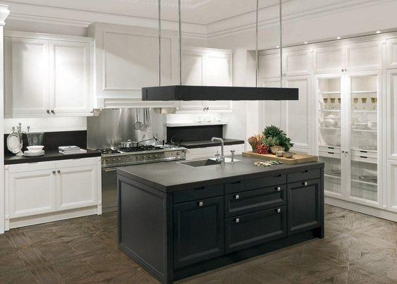 cuisine blanche et noire avec parquet artistique et hotte ...