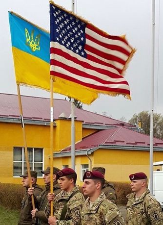20th April 2015. US and Ukrainian soldiers working together in Ukraine.