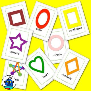 Printable Spanish flashcards to help toddlers learn colors and shapes!