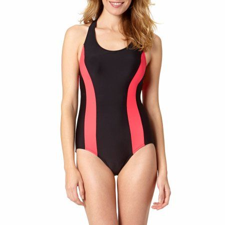 Catalina Women's Solid Colorblock Athletic One-Piece Swimsuit, Black