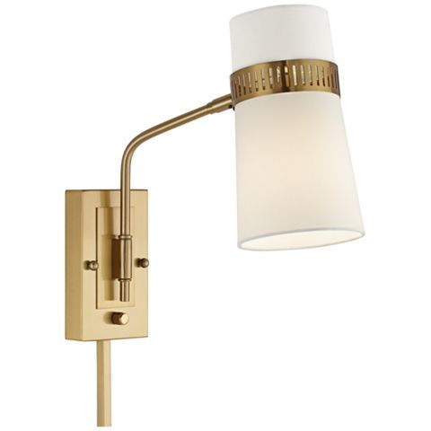Cartwright Warm Antique Brass Plug In Wall Lamp 9f152 Lamps Plus Plug In Wall Lamp Swing Arm Wall Lamps Wall Lamp